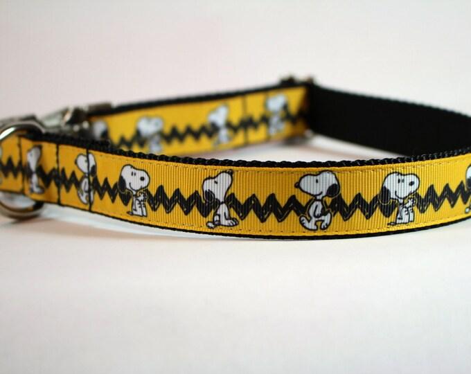 snoopy inspired dog collar, peanuts dog collar, yellow collar,  martingale collar, Metal buckle collar, pet gift, dog accessory, bozies bags
