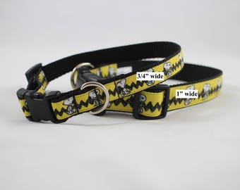 snoopy inspired dog collar, peanuts dog collar, yellow collar,  martingale collar, Metal buckle collar, pet gift, dog accessory, bozies bags