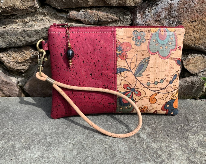 Wristlet, Cork wristlet, vegan purse, tan wristlet, cork fabric bag, floral print bag, wine bag, red purse, cork purse, vegan bag, wristlet