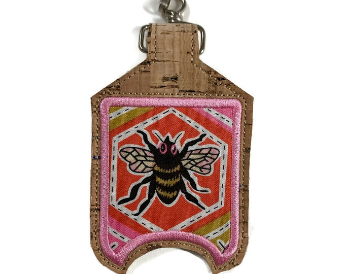Featured listing image: Cork hand sanitizer holder with clip.  Bumble bee sanitizer clip pouch