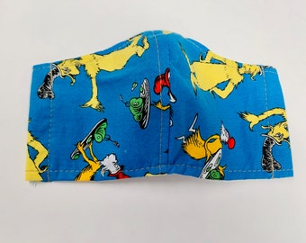Toddler sized cotton face mask, Dr Seuss mask, Free shipping
