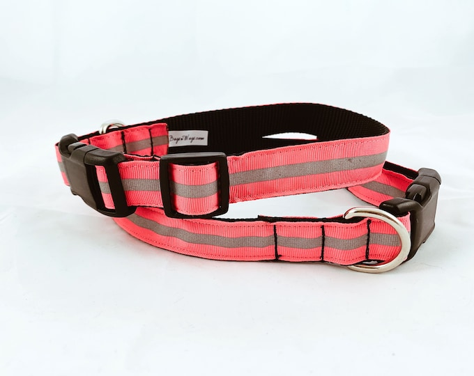 Reflective dog collar, Safety collar, night dog collar, side release buckle collar, pet accessory, pet gift, Bozies Bags