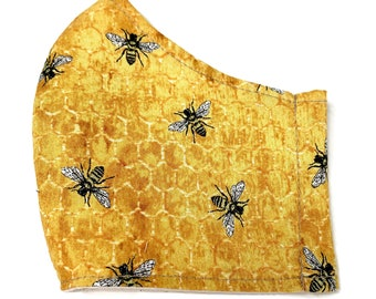 Yellow cotton face mask for adult with bumble bee fabric