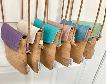Cross body phone bag, cork purse, vegan bag, Cork fabric, adjustable cross body bag, vegan leather gift, sustainable gift