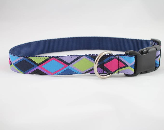 "multi-color dog collar, diamond dog collar, argyle collar, dog collar, 1"" wide collar, pet gift, dog accessory, woven jacquard collar"