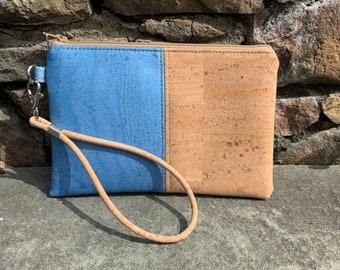 Wristlet, blue wristlet, cork wristlet, vegan purse, cork fabric bag, blue purse,  light blue wristlet, bag, cork purse, vegan bag