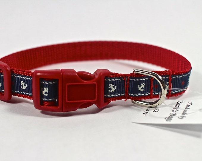 """Anchor dog collar, navy collar, beach themed collar, small dog collar, nylon webbing,  1/2"""" wide, Bozies Bags"""
