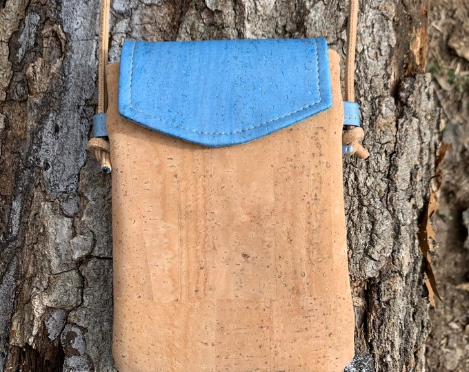Cross body phone bag, cork purse, Cork fabric bag, blue purse, mini adjustable phone bag, vegan purse, vegan gift, sustainable gift