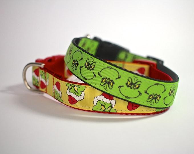 Grinch dog collar, holiday Christmas collar, pet collar, Santa collar, pet gifts, pet accessories