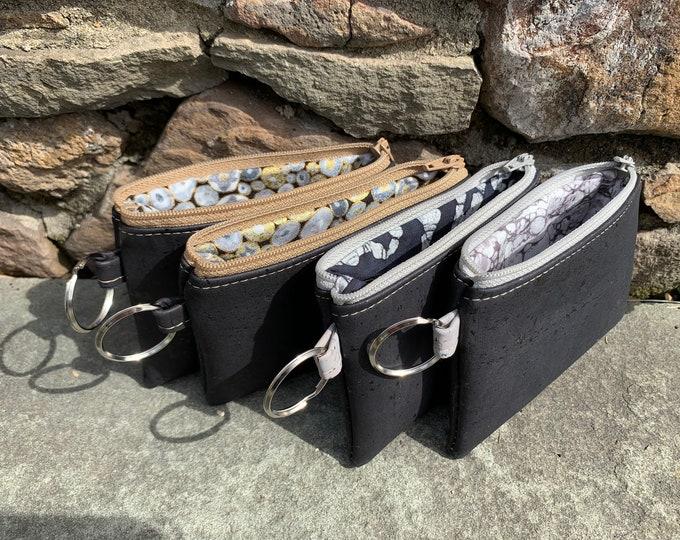 Cork coin wallet, credit card case, vegan change purse, cork bag, cork wallet, vegan leather wallet, coin purse,  black wallet
