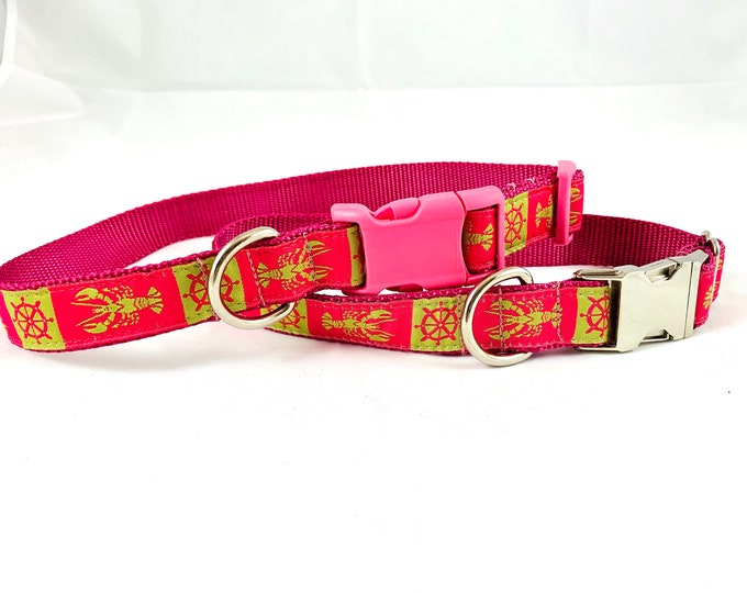 pink lobster nautical dog collar, adjustable nylon 1 inch wide pet collar size large or medium