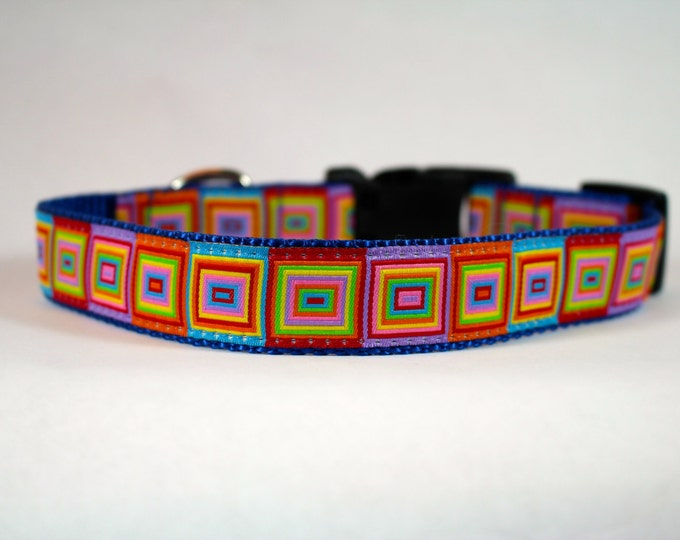 rainbow squares dog collar, multi colored dog collar, bright nylon collar, pet gift, dog accessory, Bozies Bags