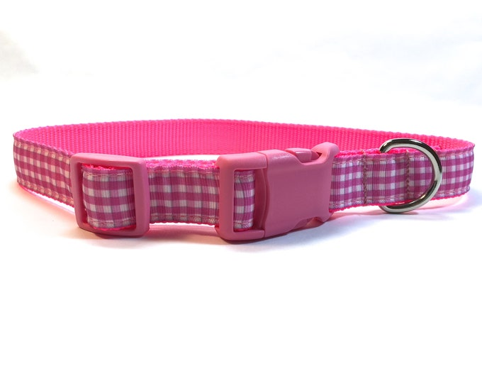 "pink gingham dog collar with metal buckle, 1"" wide dog collar, pet gift, dog accessory, Bozies Bags"