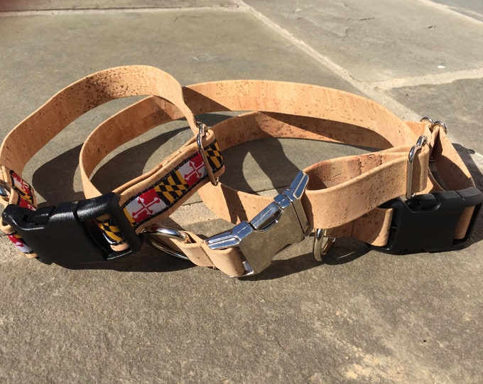Cork dog collar, vegan dog collar,  Maryland flag collar, pet accessory, plant based collar