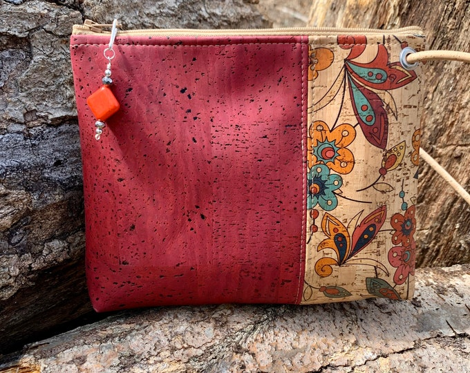 Cross body bag, cork fabric purse, vegan bag, adjustable cross body bag, wine colored purse