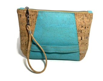 Turquoise cork wristlet clutch