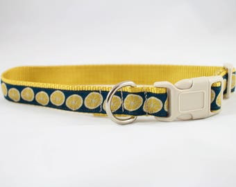 Dog collar, Lemon design, lemon ribbon, lemon dog collar, Dog accessories, pet gift, yellow dog collar, Bozies Bags Dog collar
