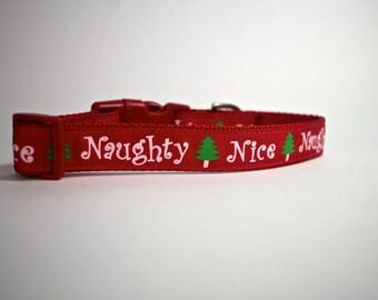 Christmas dog collar, Holiday pet gift, naughty or nice collar,  red collar, naughty list, nylon pet collar, pet gifts, dog accessories