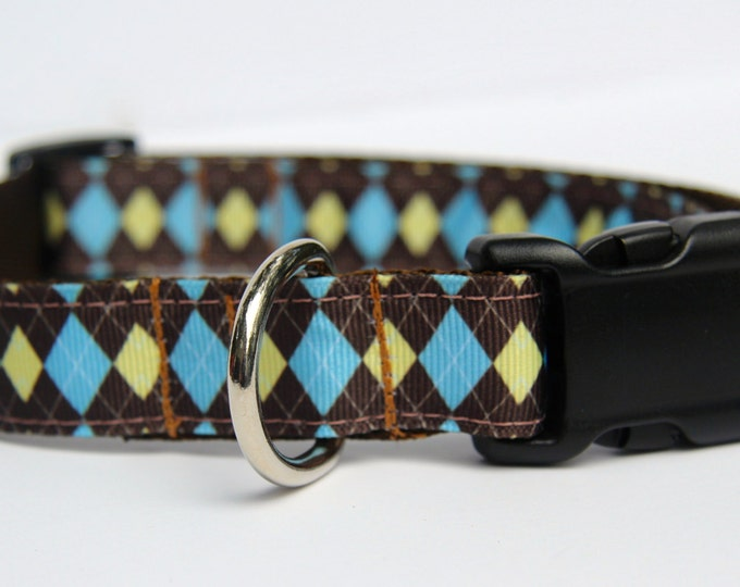 dog collar, argyle ribbon dog collar, brown dog collar, blue and yellow collar, pet gifts, dog accessory, boy dog collar, by Bozies Bags