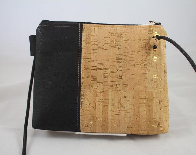 Cross body bag, cork purse, vegan bag, Cork fabric, adjustable cross body bag, teal bag, vegan leather gift, sustainable gift