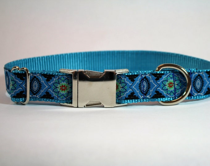 blue dog collar, woven ribbon dog collar, metal buckle or molded plastic buckle collar, pet gift, pet accessory by Bozies Bags