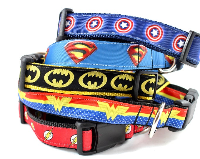 Superman dog collar,  super hero collar, DC comics dog collar, superman collar, Super dog, large dog collar, small collar, pet gifts