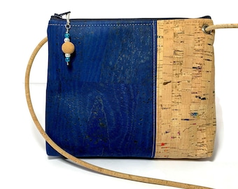 Abigail Cross Body Bag in  blue and rainbow flecked cork