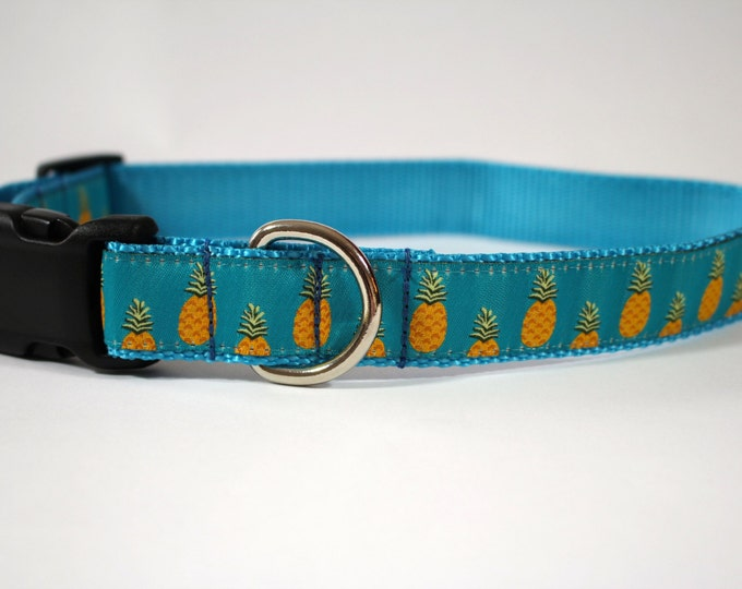 Pineapple dog collar, teal light blue collar, hospitality symbol collar, Martingale collar, pet accessory, pet gift, Bozies Bags