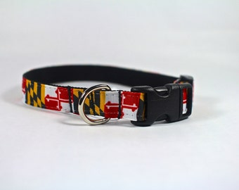 "Maryland flag dog collar, small dog collar, mini dog collar, toy dog accessories,  1/2"" inch wide pet collar,  5/8"" wide pet collar"