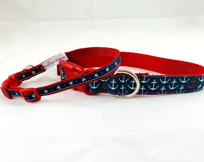 "anchors dog collar, nautical beach themed dog collar, red and navy blue dog collar, 1"" wide collar, pet gift, dog accessory"