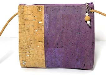 Abigail Cross Body Bag in lavender and silver flecked cork