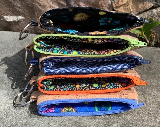 Cork coin wallet, rainbow cork bag, credit card case, vegan change purse, cork bag, cork wallet, vegan wallet, coin purse.