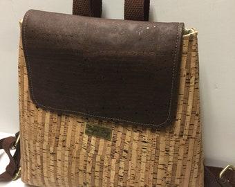 Cork back pack, vegan bag, Cork fabric bag, everyday back pack, natural cork bag, backpack purse, vegan leather bag, eco friendly gift