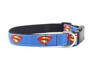 Superman dog collar,  super hero collar, DC comics dog collar, superman collar, Super dog, large dog collar, small collar, pet gifts