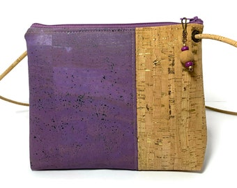 Abigail Cross Body Bag in lavender and gold flecked cork