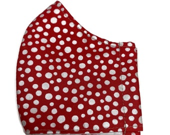red and white polka dot face mask