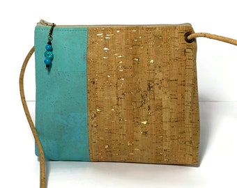 Abigail Cross Body Bag in turquoise and gold flecked cork