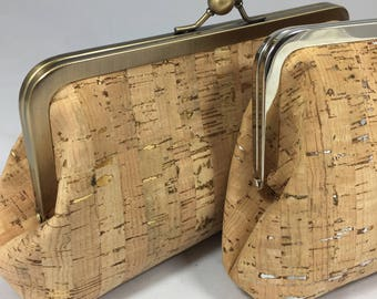 Cork clutch, cork wristlet, vegan purse, tan wristlet, natural cork fabric bag, cork fabric purse, evening bag, vegan leather bag