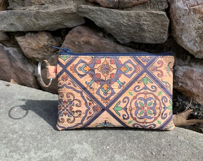Cork coin wallet, denim blue bag, credit card case, vegan change purse, cork bag, cork wallet, vegan leather wallet, coin purse.