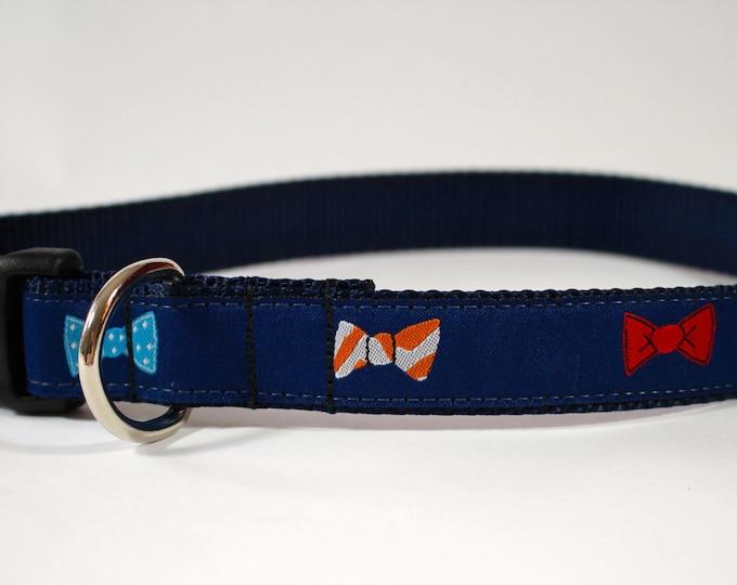 "bow tie dog collar, dapper dog, navy collar, preppy dog collar, 1"" wide collar, pet gift, dog accessory"