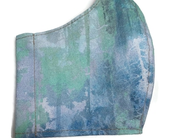 Cotton face mask with light blue and soft green fabric