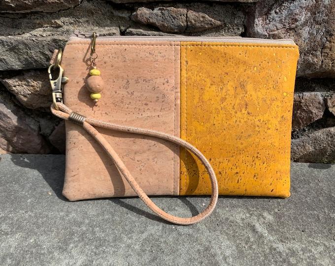 Wristlet, yellow wristlet, yellow purse, cork wristlet, vegan purse, cork fabric bag, cork purse, vegan bag