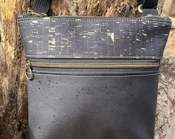 Double zip bag, cross body bag, black purse, cork purse, metallic black bag, cork bag, Koda cross body bag, zipper sling bag, vegan purse.