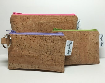 Cork coin wallet, credit card case, vegan change purse, natural cork bag, cork wallet, vegan leather wallet, coin purse,  eco friendly bag