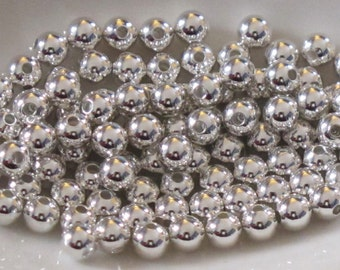 3mm Silver Plated Ball Beads_50 beads_Round Spacers_Jewelry Design_Bright Silver_