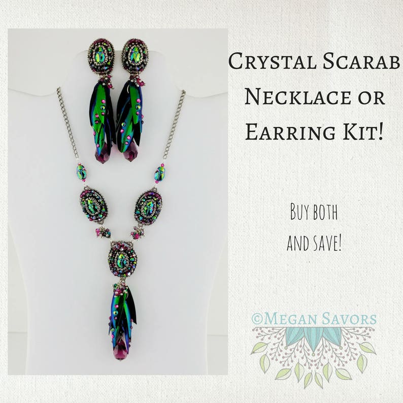 KITS/_Antiqued Silver Crystal Scarab Earring OR Necklace Kit/_Real Jewel Beetle Wings/_Crystallize/_Bead Embroidery/_by Megan Savors