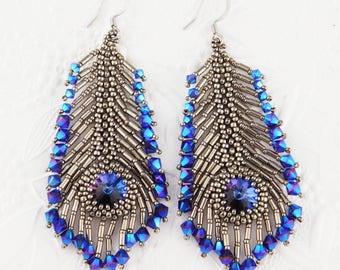 Crystal Peacock Feather Earring KIT Purple Blue and Antiqued Silver Pattern Instructions