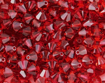 6mm Scarlet Bicones_Swarovski Crystal Beads_ Scarlet Red_36 beads_ Article #5328_Cranberry_ Holiday_