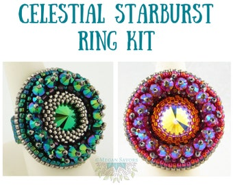 Bead KIT_Celestial Starburst Ring Kit_Peyote Stitch_Green/Amethyst_Fuchsia/Fire Opal_Bead Embroidery Kit_