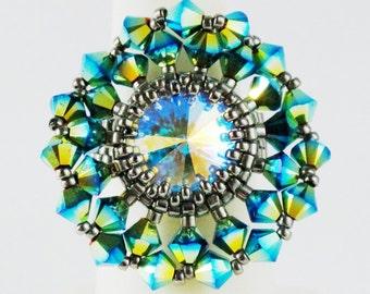 Kit_Calendula Flower Ring Kit_Peyote Stitch_Bead KIT_Swarovski Crystal_Peacock Green Blue_Antiqued Silver_Pattern_Peyote Ring